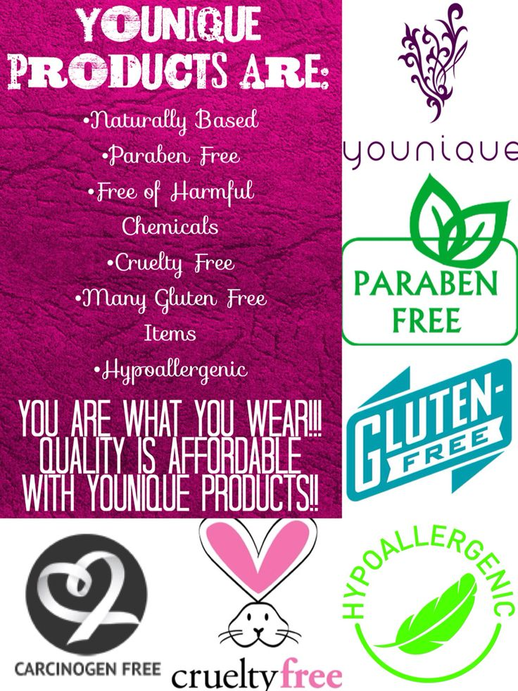 http://www.safesexyskin.com/ Younique products are naturally based, cruelty free, carcinogen free, paraben free, hypoallergenic, many are gluten free, and some are even vegan! This is a cosmetic company with a conscience!