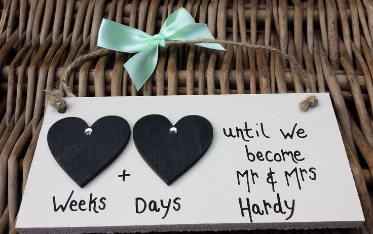 Wedding Double Heart Countdown 'Pale Green Ribbon' Plaque