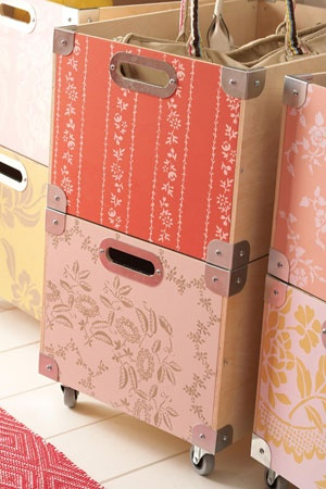 ah they say ikea carries these stackable boxes, Storage Bin Stencils Paint and stencils bring stock bins to life. Snack Box bins come ready to assemble from Ikea, so you can paint the panels before you put them together. We chose a palette of rose, blush, and golden hues in a combination of light on dark and dark on light to create a patchwork design. Make your own in 4 easy steps: 1. Apply two coats of base paint color to entire surface—no priming necessary. 2. Hold ...