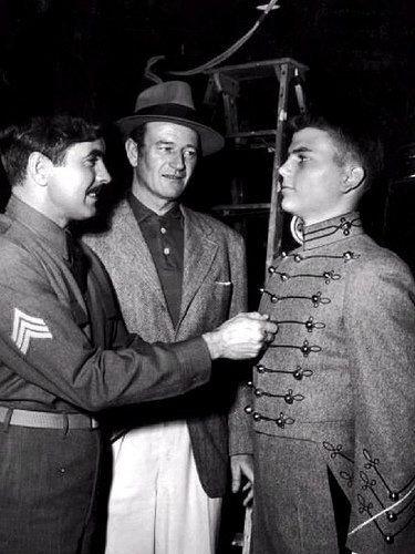di-diana:  Tyrone Power, Duke and Patrick Wayne  Duke visits the set of The Long Grey Line (1955)