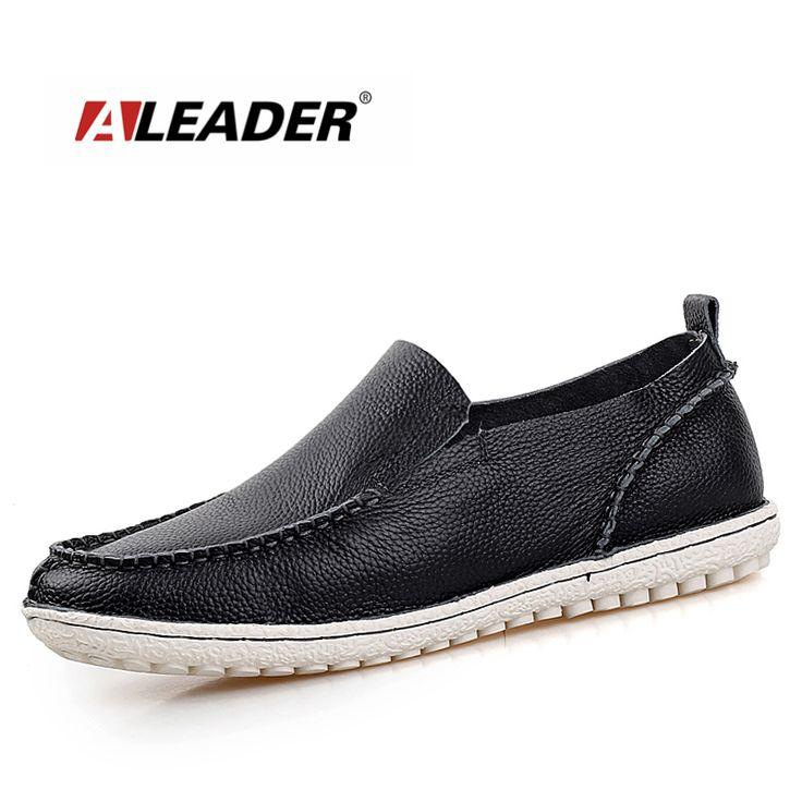 Aleader Fashion Genuine Leather Shoes Men Flats Soft Designer Men Loafers Slip On Casual Moccasins Driving Shoes For Men