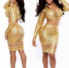 Women Bandage Bodycon Evening Club Party Dress Slim Fit Clubwear Sexy 2 Piece