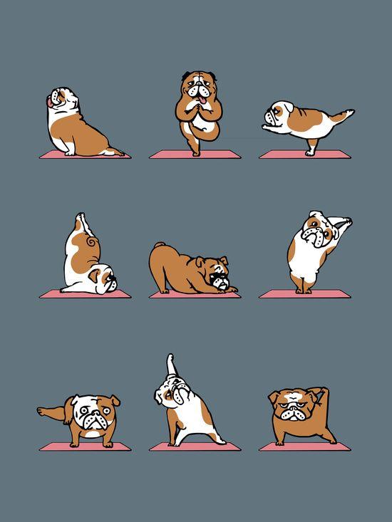 English Bulldog Yoga Art Print