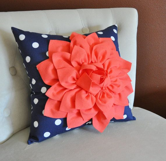 Coral Dahlia on Navy and White Polka Dot Pillow -Baby Nursery Pillow- Toss Pillow Decorative Pillow on Etsy, $35.00
