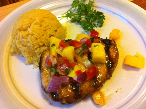 I found this at fooddownunder.com. Its very flavorful, and I really like the lime-soy marinade with the tropical salsa on top - a very good combination! Time does not include marinating time.