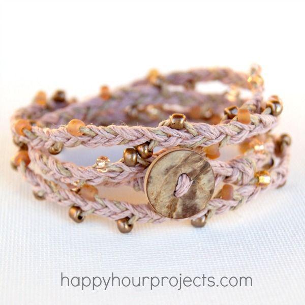 Beaded Hemp Wrap Bracelet. Found this on http://happyhourprojects.com/beaded-hemp-wrap-bracelet/