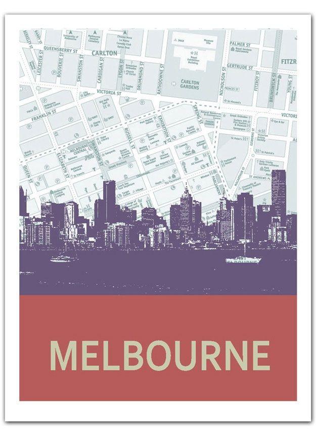 Melbourne Skyline Print - hardtofind.