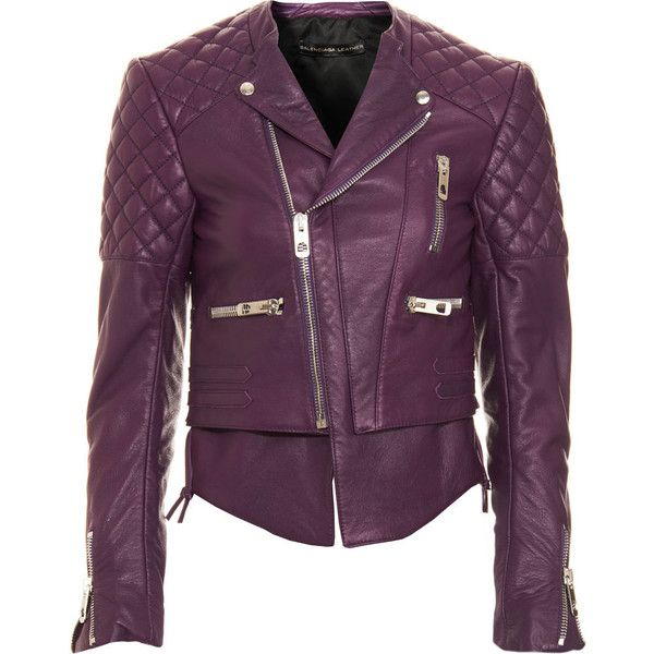 Balenciaga Motorcycle Jacket - Purple size 38 (81.710 RUB) ❤ liked on Polyvore featuring outerwear, jackets, tops, coats & jackets, leather jackets, clothing & accessories, women, motorcycle jacket, quilted jacket and purple leather jacket