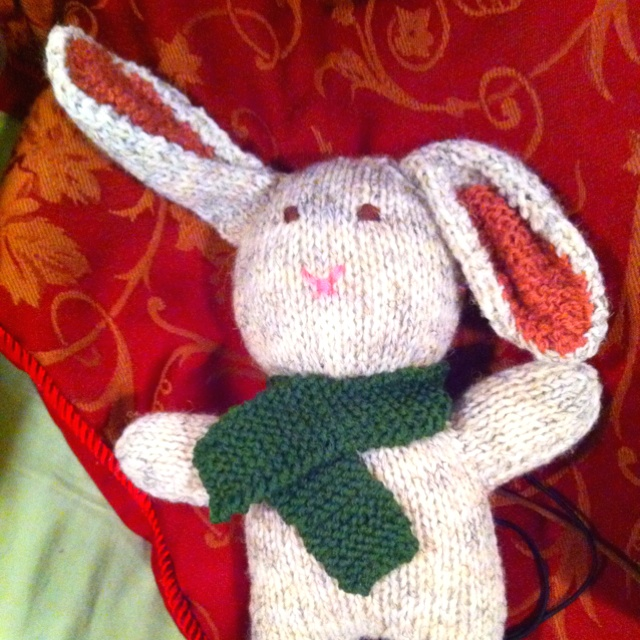 Knit bunny, pattern from Joelle Hoverson's Last Minute Knitted Gifts -- This is cute, I may try it one day! :)