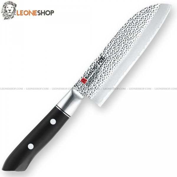 "KASUMI HAMMERED Santoku Chef Knife K-74013, professional japanese knives with heart of the blade in V-GOLD No. 10 Stainless Steel High Carbon - Hardness on the edge HRC 59/60 - Outside are made of 401 stainless steel with Hammered finishing - KASUMI H.M. Hammer Design which creates a non-stick effect - Blade lenght 5.1"" - The VG10 steel is highly resistant to oxidation, has a high hardness and therefore makes the cutting edge of the knife really exceptional - Handle made of black POM..."