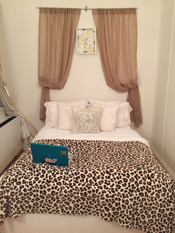 Bedrooms: Hanging Beige Two Side Curtains Headboard Design How To Hang Curtain Tie Backs Bedroom Pictures Of Curtains Sweet Teenage Girls Bedroom Design With White Single Bed Using Cheetah Pattern Comforter: charming curtain headboard