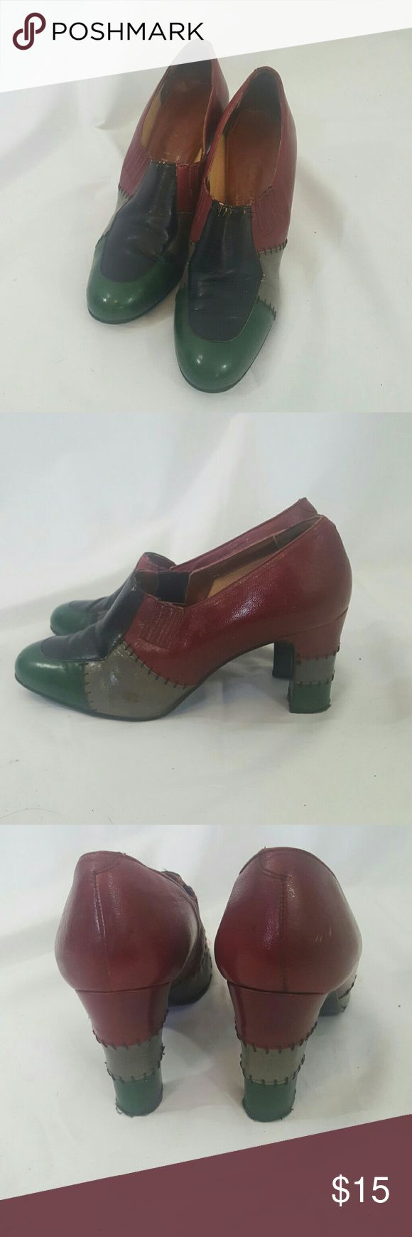 Vintage 1960s Mod Loafer Colorblock Heels 7.5 Good Condition. Amazonf shoes. These are great and quite the statent.  Green, black, gray, and maroon. Even the syacked heels are multicolored. They show some minor wear and incidental scuffing. True to Size  Label Magceli Size 7.5 Heel Height 3 inches ModCloth Shoes Heels