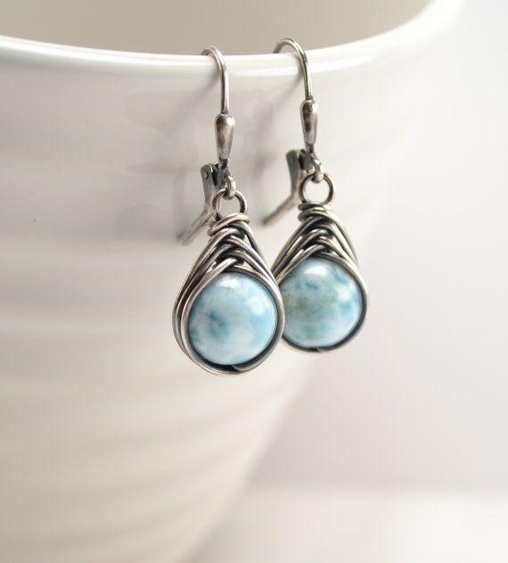 Larimar Earrings Larimar Jewelry Oxidized by DesignbyNeringa