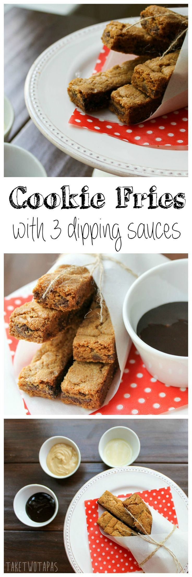 "Cookie Fries are a fun way to eat cookies!  The kid will love them and have fun dipping the ""fries"" into the dipping sauces! Cookie Fries 