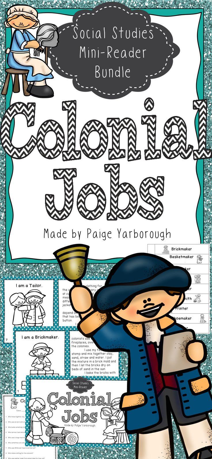 Colonial jobs social studies mini reader bundle social