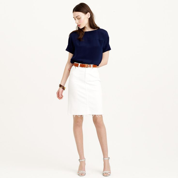 """white pencil skirt"" and denim jacket - Поиск в Google"