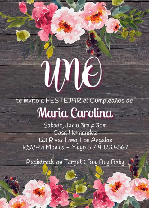 feliz cumplea u00f1os invitacion  cumpleanos ni u00f1a  rosas flores  spanish espa u00f1ol  fiesta invitation