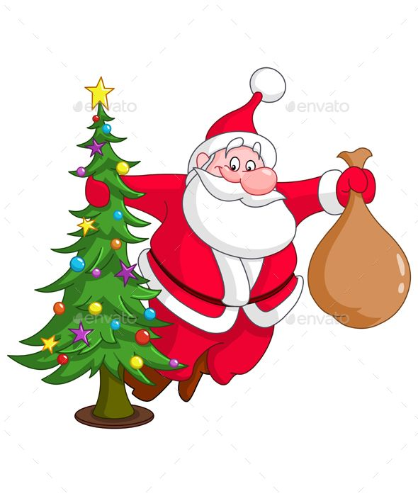 Santa With Christmas Tree With Images Christmas Tree With Gifts Christmas Tree Art Christmas Vectors