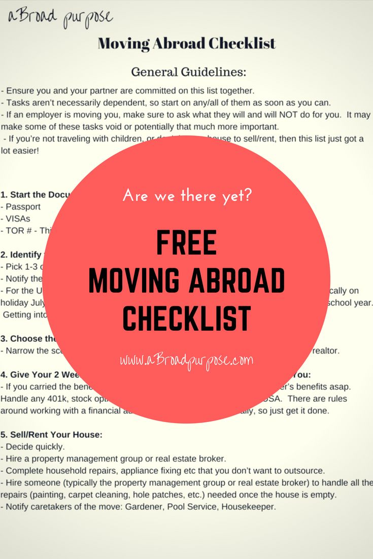 Moving Abroad Checklist To Start Planning Your Move Abroad Today Move Abroad Moving Abroad