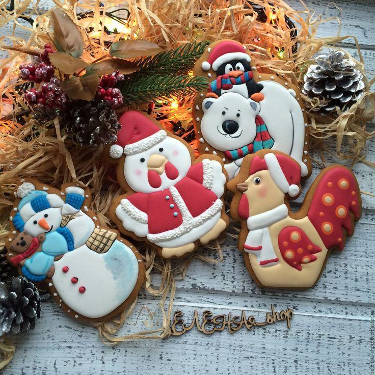 """Купить Имбирные пряники """"Новогодние"""" в пакетике - белый, имбирные пряники, имбирное печенье, имбирный пряник"""