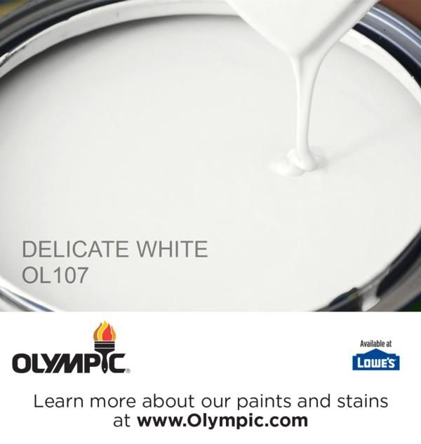 """DELICATE WHITE OL107 is a part of the grays & blacks collection by Olympic® Paint. """"My new living room inspired by Olympic Paints and Stains"""""""