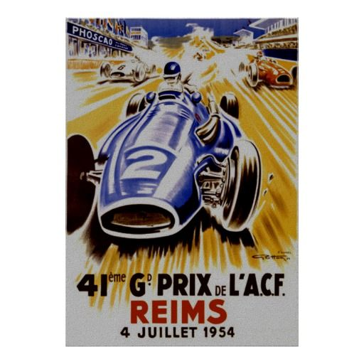 Grand Prix Reims France ~ Vintage Auto Racing Posters