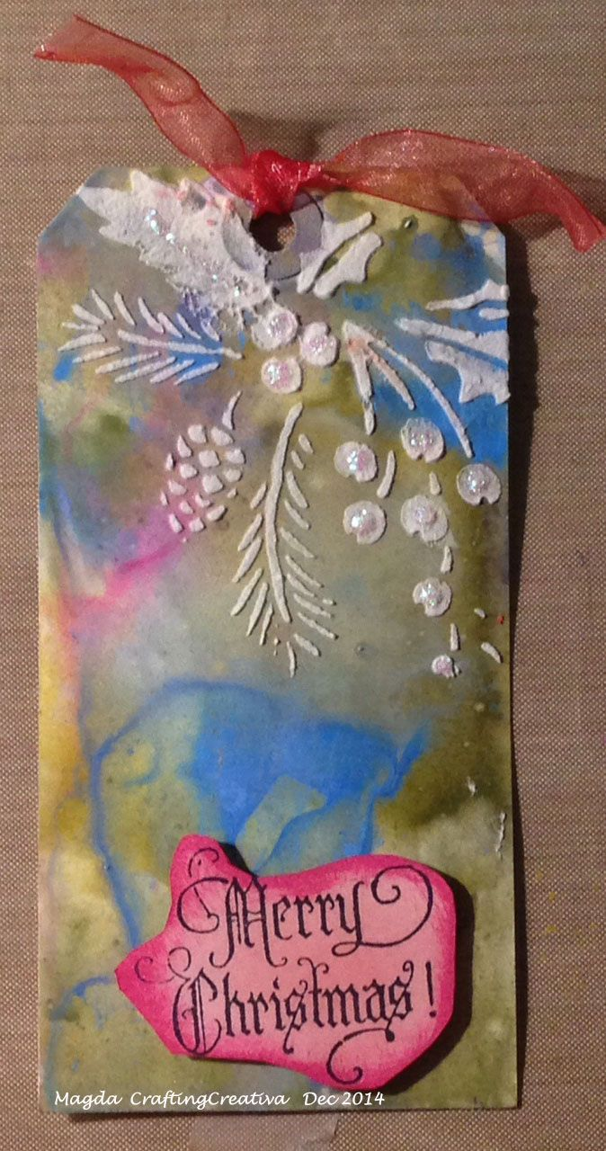 Tag with Distress Paint and Embossing Paste