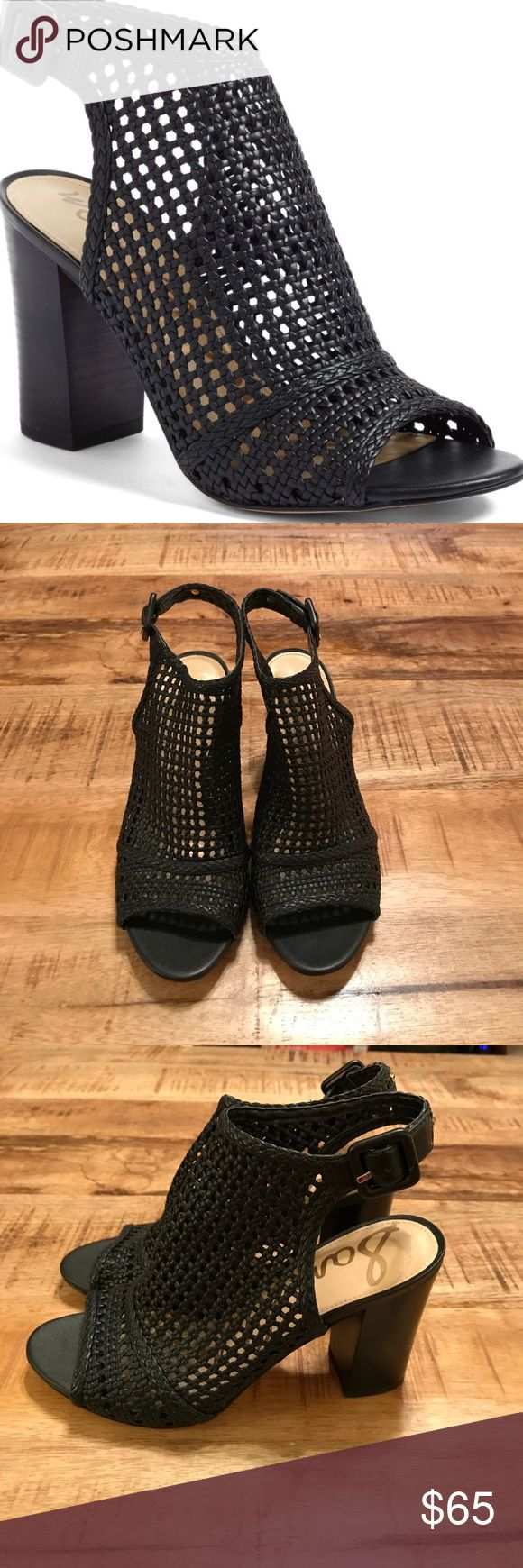 """Sam Edelman 'Evie' woven sandal size 7 Like new condition! Only flaw is soles which is just sticker residue. Black mesh block heel booties size 7. Description: """"A basket-woven upper and chunky stacked heel define a fashion-forward sandal in a bootie-inspired silhouette."""" Heel Style:block/chunky-stacked 3"""" heel Sam Edelman Shoes Ankle Boots & Booties"""