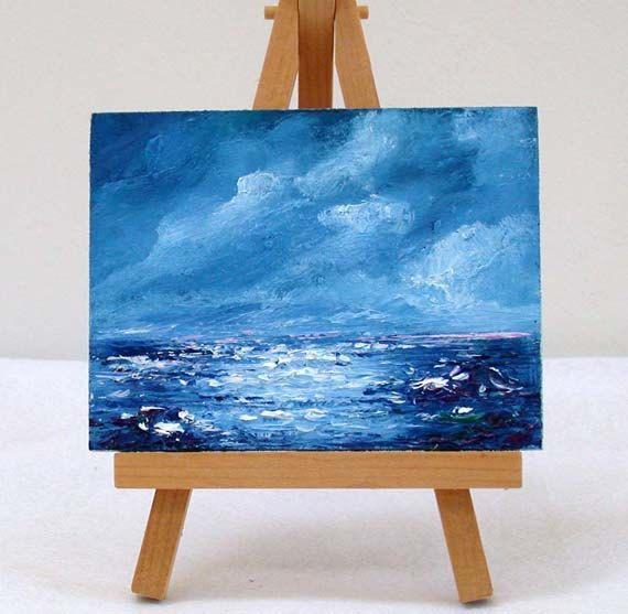 Blue Ocean ,3x4 original, oil painting, shades of blues by valdasfineart on Etsy
