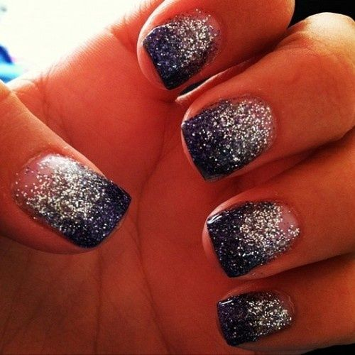 Starry ombré type nails. Navy blue with silver glitter. Fabulous! :)                                                                                                                                                     More