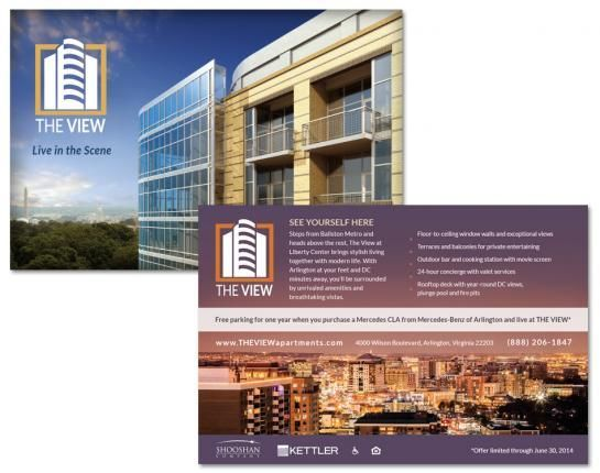 Postcard designed for THE VIEW at Liberty Center, a new apartment community in Ballston.