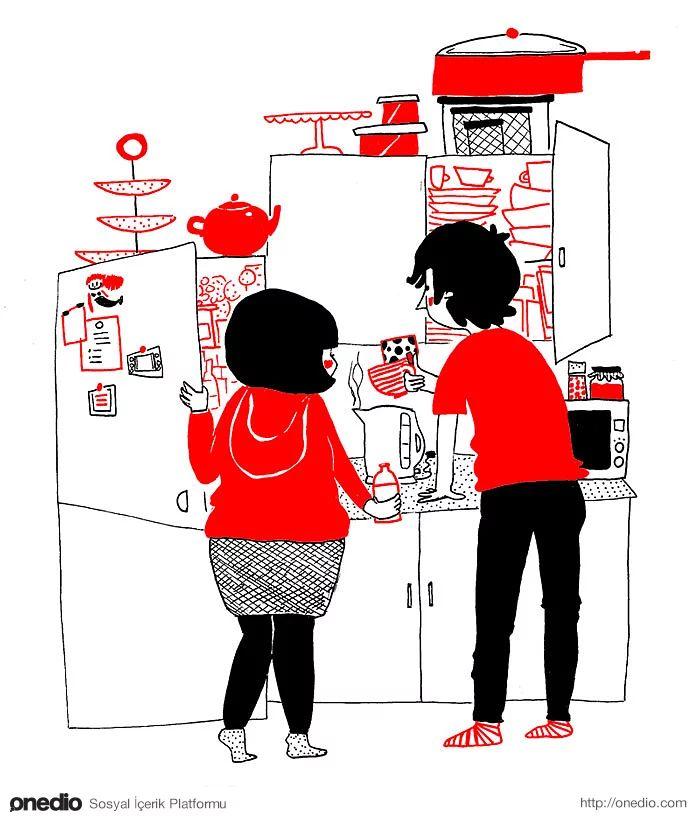 Aşk bazen sabahları aynı mutfakta...