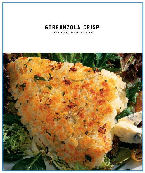 Gorgonzola Crisp Potato Pancakes with Salemville Amish Gorgonzola cheese. Serve as a side or appetizer! So good!