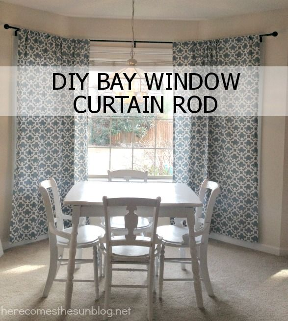 Easy DIY Bay Curtain Rod from herecomesthesunblog.net (this blog also has a bunch of other house building blogs (ryan homes?) linked to it)