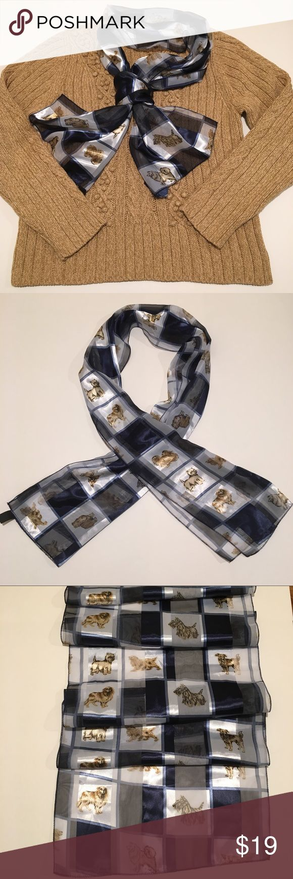 """Dog print scarf Scotty Lhasa Collie Cairn Cocker Dog lover alert! Get this gorgeous scarf filled with beautiful dog images. In like-new condition. Lovely color combination of navy blue, colonial blue, white, and gold. Silky fabric (polyester) is very comfortable. Many different dog breeds pictured Cavalier King Charles spaniel's, Cocker spaniel, Cairn Terrier, Scottish terrier, Collie, Jack Russell, Samoyed, Lhasa Apso, """"All American"""" mixed breed. Smoke-free home. Liz Claiborne sweater sold…"""