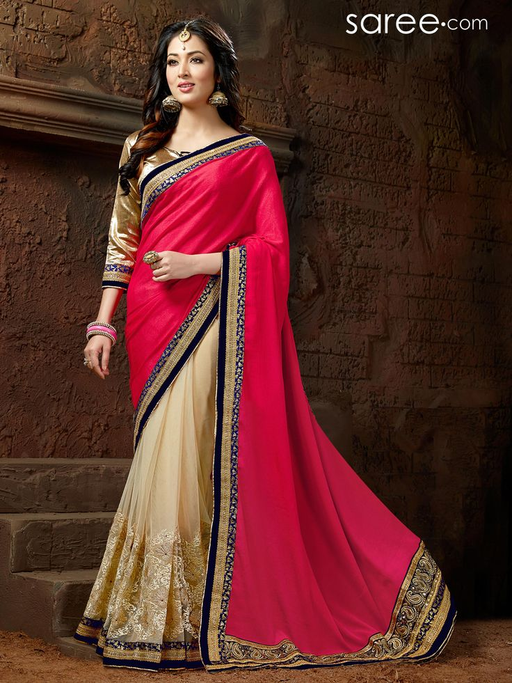 PINK AND CREAM SATIN CHIFFON SAREE WITH EMBROIDERY WORK