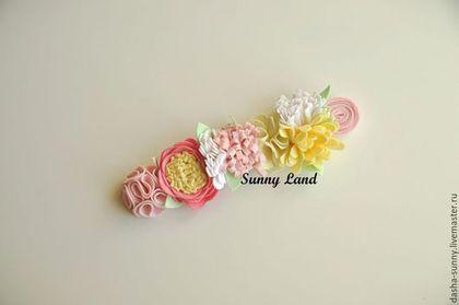 Повязки ручной работы. Повязка-веночек с цветами. Sunny land. Интернет-магазин Ярмарка Мастеров. Повязка на голову, повязка для девушки
