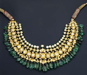 DIAMOND, EMERALD AND ENAMEL NECKLACE