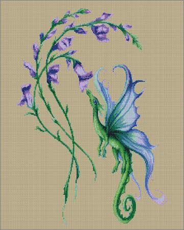 Cross Stitch Craze: Dragon Flower Fantasy Cross Stitch