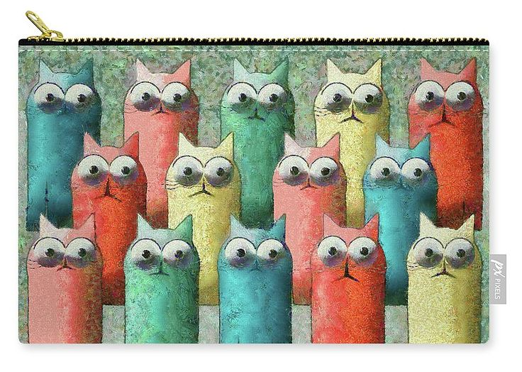 Cat Carry-all Pouch featuring the painting Observing Cats by Grigorios Moraitis