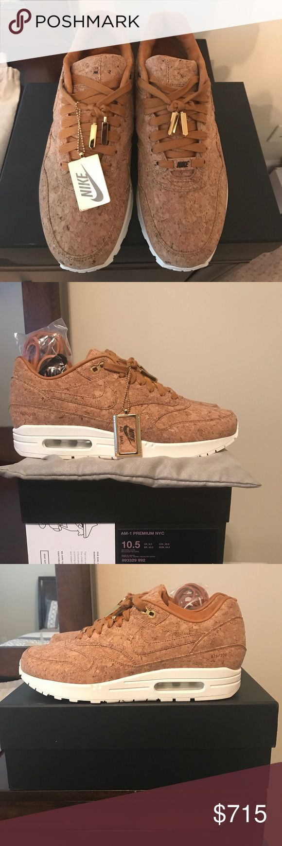 NIKE AIR MAX 1 PRM CORK QS SO HO NY sz 10.5 76/100 Up for auction 💯 authentic New pair of NIKE AIR MAX 1 HYPER PRM CORK QS SO HO NYC Sz 10.5 Men's 76/100 Limited. Shoes were tried on for sizing was to snug to keep. I suggest those who normally wear a size 10 in AM1s this 10.5 will be perfect. Shoe were purchased off the sneaker GOAT app. Also included are 2 dust bags 4 gold numbered 76/100 lace tips, extra leather laces, and a gold/Cork Nike key chain. These are extremely limited and only…
