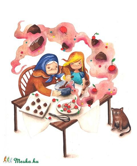 Nagymamánál - Print (Akvarell), Képzőművészet , Baba-mama-gyerek, Illusztráció, Gyerekszoba, Meska