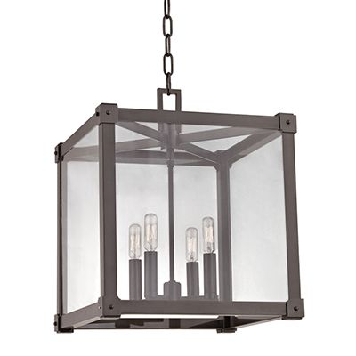Hudson Valley Lighting 8616 Forsyth 4 Light Square Pendant With Clear Glass  Old Bronze Indoor Lighting Pendants