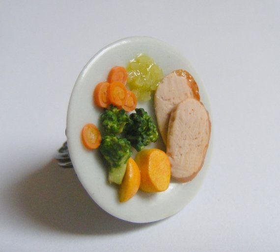 Alimentaire bijoux rôti porc bague anneau de dîner de par NeatEats
