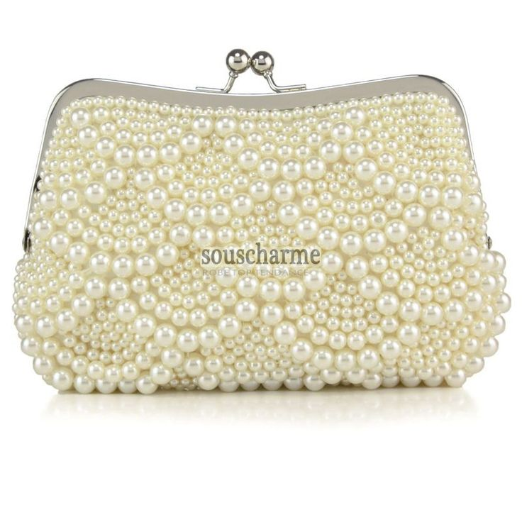 pochette mariage sac main luxe ivoire aux perles simili cousu manuel pour marie et demoiselle - Pochette Mariage Ecru