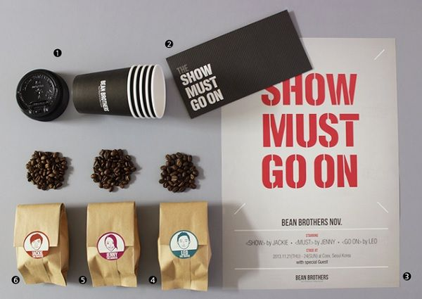 Bean Brothers, 잡지처럼 구독하는 커피: 잡지처럼 한 달에 한번씩 가이드가 추천하는 커피 에디션이 발행된다. 한 달 가량 마실 수 있는 원두와 일회용 컵, 관련 컨텐츠 포스터 등이 발송된다. 어떤 커피를 마시고 싶은지 모를 때는 가이드의 추천을 받을 수도 있고, 다달이 테마가 바뀌기 때문에 다양한 커피를 맛볼 수 있다.