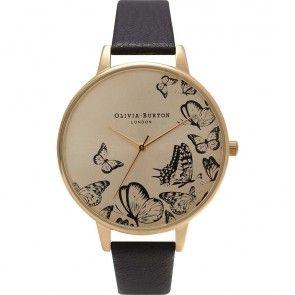 Olivia Burton Watch - Animal Motif - Multi Butterfly Black & Gold
