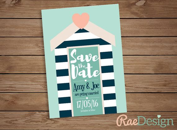Printable Nautical Seaside Beach Save the by RaeDesignStationery