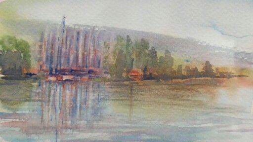 Keszthelyi vitorlàs kikötő,akvarell