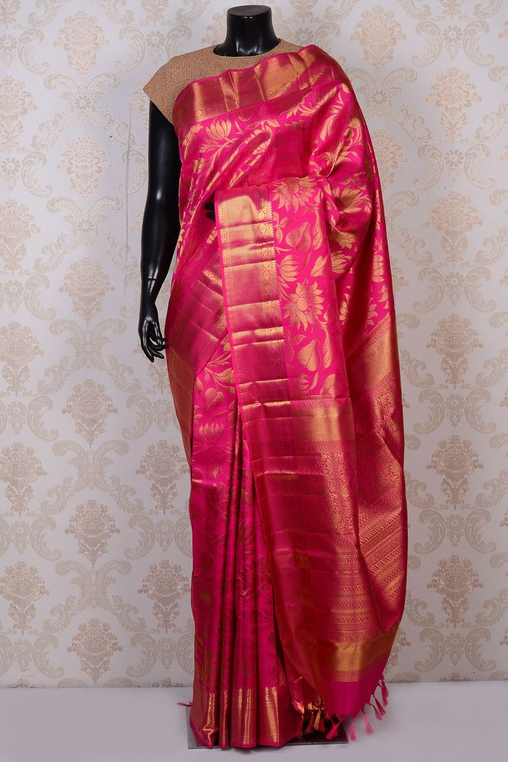 Bridal pure Kanchipuram silk Saree in Pink & Gold colours | Kanchipuram pattu Sarees buy online - Samyakk.com